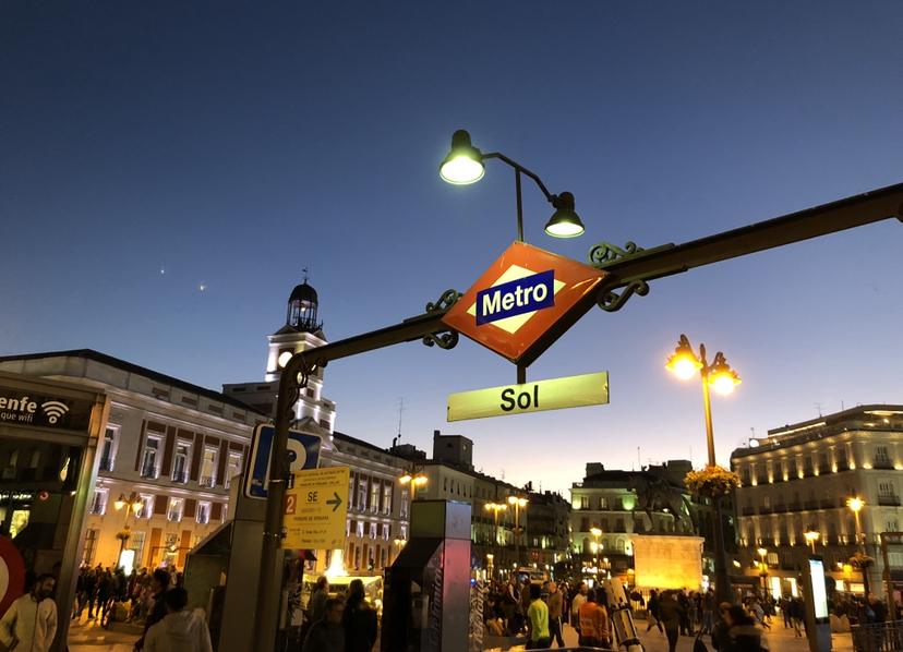 La puerta sel Sol, piazza principale di Madrid.