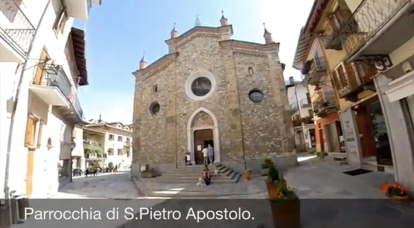 La parrocchia di S.Pietro Apostolo a Limone Piemonte centro paese.