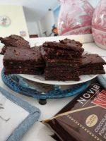 Paleo Brownies al cioccolato preparazione  Si mescolano gli ingredienti con una frusta, si fodera uno stampo 20 per 20 con carta da forno, si versa l' impasto ottenuto e si aggiungono i pezzetti di cioccolato sulla superficie per decorare. Cottura in forno preriscaldato a 180gr per 30 minuti circa